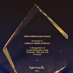 Sales Achievement Award 2011</strong> (nagroda Harmonic przyznana za osiągnięcie wysokich wyników sprzedaży w sektorze produktów HFC za rok 2011)